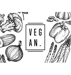 vegan food hand drawn banner vector image vector image