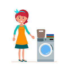 woman housewife washes clothes in the washing vector image