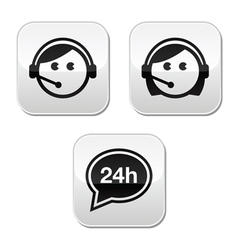 Customer service agents buttons set vector