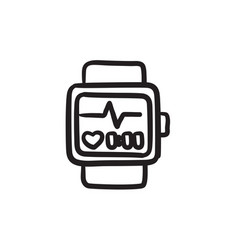 Smartwatch sketch icon vector