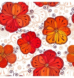 Red and white doodle flowers pattern vector image