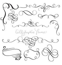 set of vintage flourish decorative art calligraphy vector image