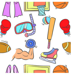 doodle of sport equipment theme vector image