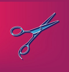 hair cutting scissors sign  blue 3d vector image
