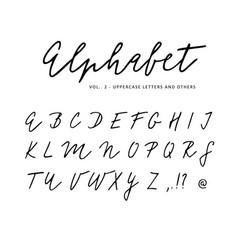 Hand drawn alphabet signature script brush vector
