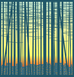 background with a grove against the city vector image