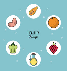 colorful background of healthy lifestyle with set vector image