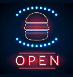 Glowing neon open signs vector