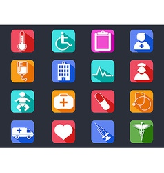 Flat medical long shadow icons vector