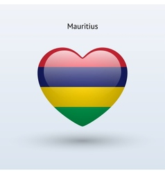 Love mauritius symbol heart flag icon vector