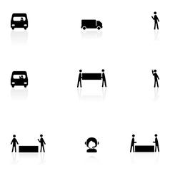 Logistics black icons vector