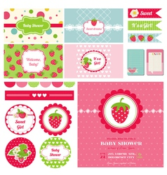 Design Elements - Strawberry Baby Shower Theme vector image