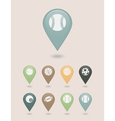 Sports balls mapping pins icons vector