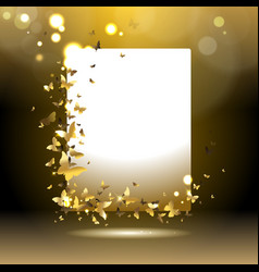 Banner with golden butterflies vector