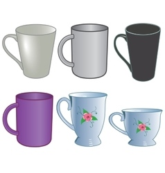 Set of cup for tea coffee and office service vector
