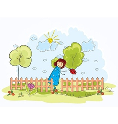 Little girl with trees vector