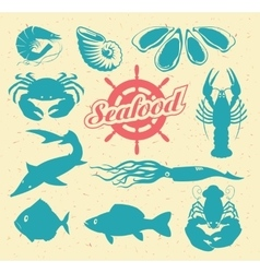 Animals on the theme of seafood vector