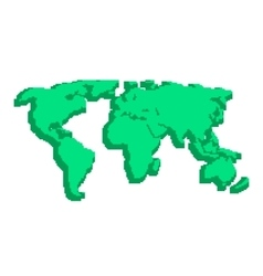 green 3d world map like pix elements vector image