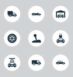 Automobile icons set collection of wheel vector