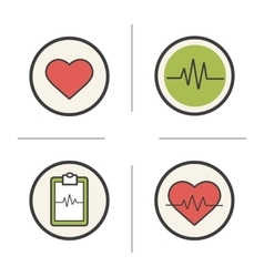 Cardiology color icons set vector