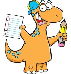 Cartoon Brontosaurus with a Pencil vector image