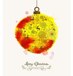 Christmas bauble watercolor vintage card vector image vector image