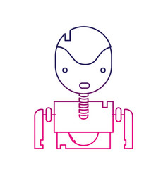 Color line tecnology robot face with chest design vector