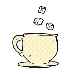 Comic cartoon teacup with sugar cubes vector