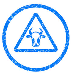 Cow danger rounded grainy icon vector