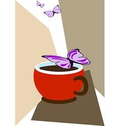 Cup of coffee and butterflies vector