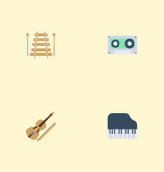 Flat icons musical instrument fiddle tape and vector
