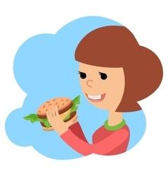 Girl eating sandwich on theme vector