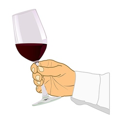 Hand holding glass of wine vector image vector image