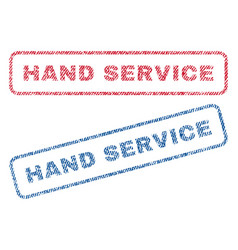 Hand service textile stamps vector