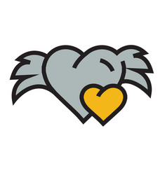 Hearts mini with wings yellow vector