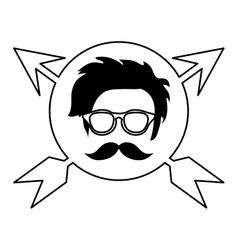 Hipster face arrows vector
