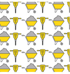Hydraulic hammer and wheelbarrow pattern vector