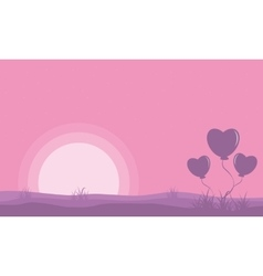 Landscape of valentine day with love balloon vector