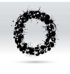 Letter O formed by inkblots vector image
