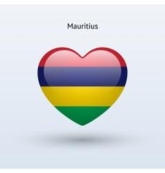 Love mauritius symbol heart flag icon vector