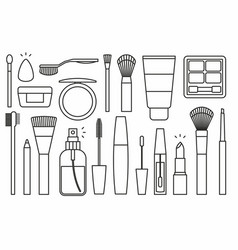 makeup tools icons vector image