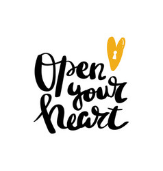 Open your heart calligraphy postcard poster vector