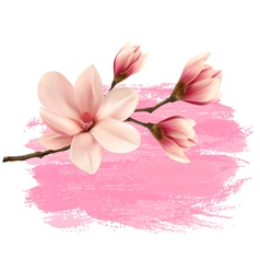 Pink paint magnolia branch banner vector