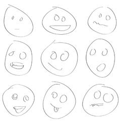 Scetch smile set vector image