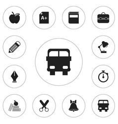 set of 12 editable school icons includes symbols vector image vector image