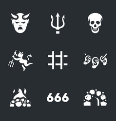 Set of hell icons vector