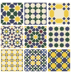 Set of nine oriental mauritanian seamless patterns vector