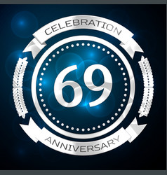 sixty nine years anniversary celebration with vector image