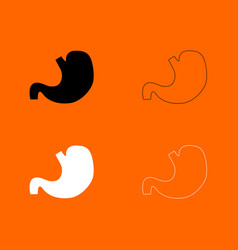 Stomach black and white set icon vector