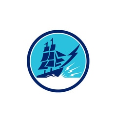 Tall Sailing Ship Lightning Bolt Circle vector image vector image